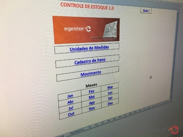 tela da planilha de controle de estoque gratuita para download