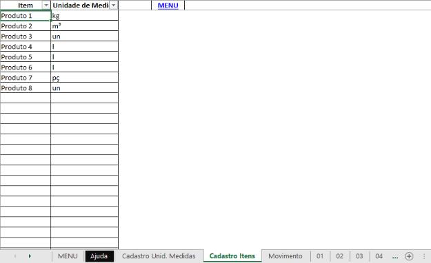Imagem 3 - Cadastro de produtos da planilha do controle de estoque Excel do eGestor.