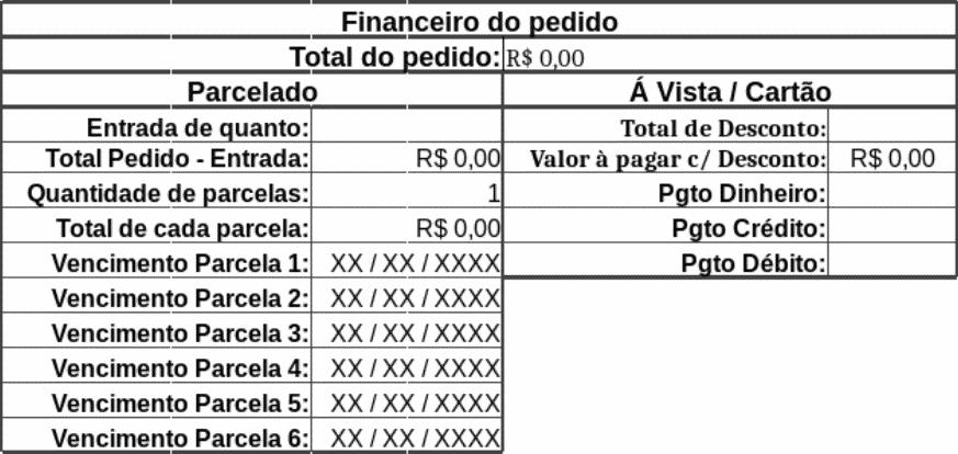 Cadastro do financeiro do pedido da planilha de vendas Excel do eGestor