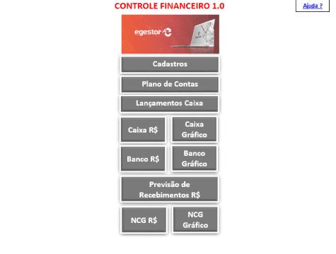 Imagem 1 - Menu da planilha de controle financeiro - Planilha Financeira