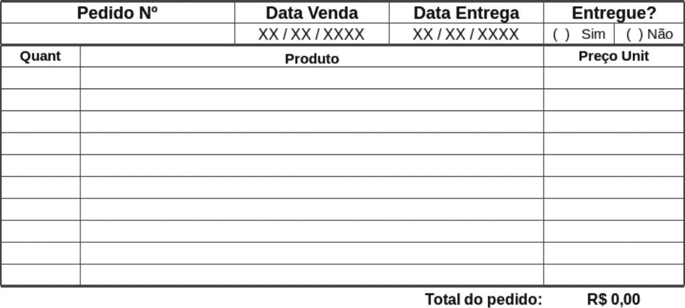 Exemplo de cadastro de pedido da planilha de controle de vendas Excel do eGestor