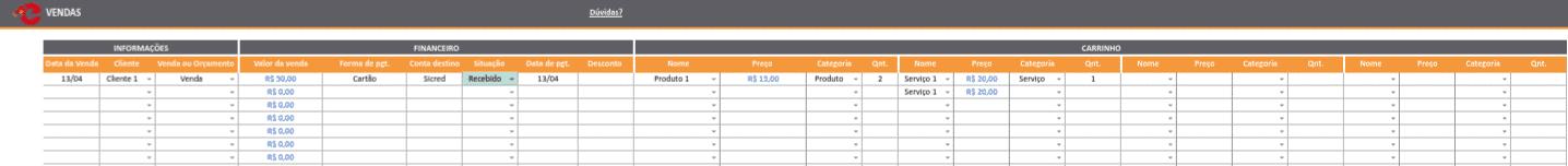 planilha de controle de vendas
